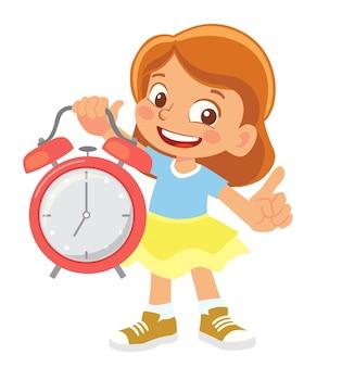 Девушка держит будильник клипарт