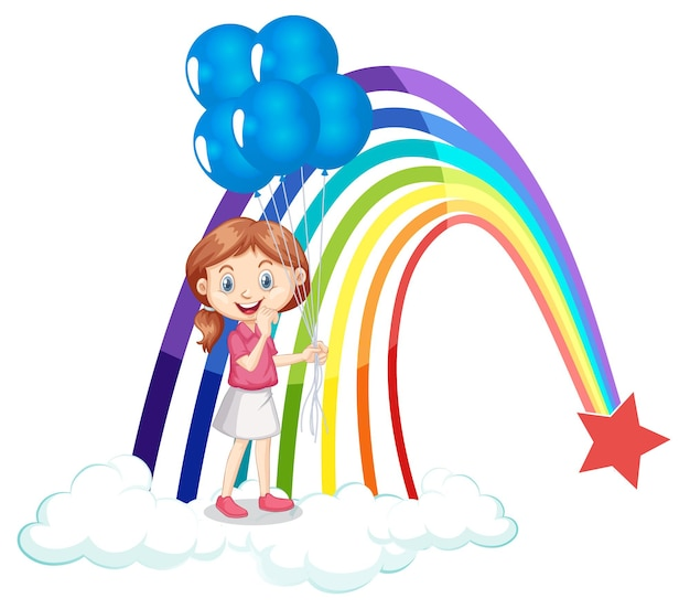 A girl holding balloons with rainbow