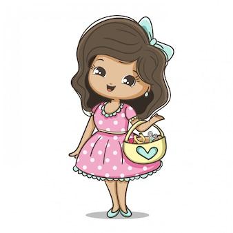 Девушка держит корзину тканей