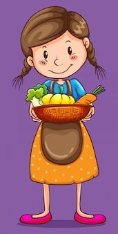 야채 바구니를 들고 소녀 무료 벡터