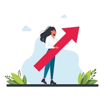 그녀의 hands.growth 개념에 큰 화살표를 들고 소녀. 경력 발전. 회사원, 관리자, 여성. 비즈니스 목표 달성, 경력 사다리 진행 및 발전, 경력 개발 개념