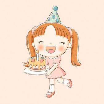 手描きの線のスタイルでバースデーケーキを保持している女の子