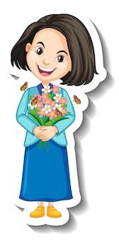 A girl holding bouquet cartoon character sticker