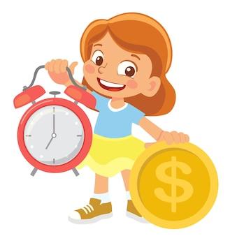Девушка держит часы и деньги клипарт