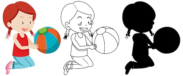 Girl holding colorful ball with its outline and silhouette
