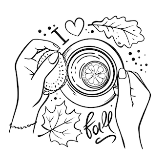Girl holding cup of tea with lemon in her hands fall monochrome clip art vector illustration