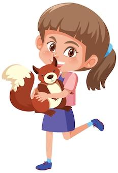 白い背景で隔離のかわいい動物漫画のキャラクターを保持している女の子