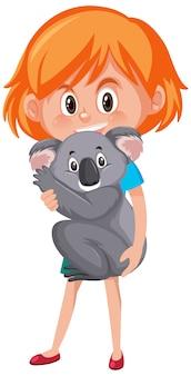 Девушка держит милый мультипликационный персонаж животных, изолированные на белом