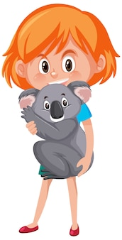 Girl holding cute animal cartoon character isolated on white