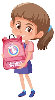 Girl holding cute backpack cartoon character