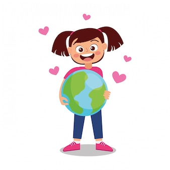 Girl holding earth planet.