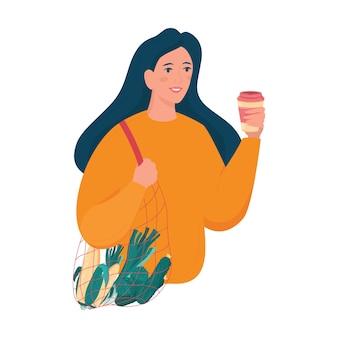 エコストリングバッグと再利用可能なコーヒーカップを持っている女の子。環境にやさしく、廃棄物ゼロのコンセプト。孤立したフラットベクトル図