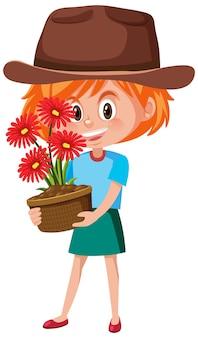 Девушка держит цветок в горшке мультипликационный персонаж изолированы