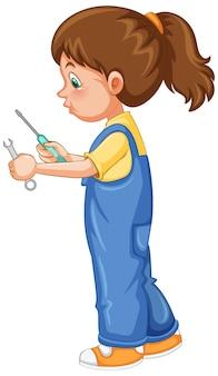 Una ragazza che tiene utensili a mano su sfondo bianco