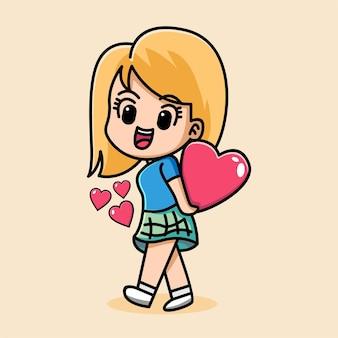 Девушка держит сердце мультипликационный персонаж