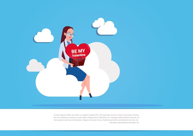 Girl holding heart sit on white cloud over blue background be my valentine love day holiday concept