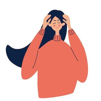 그녀의 손으로 그녀의 머리를 잡고 소녀 편두통 두통 두통