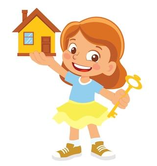 Девушка держит дом и ключ