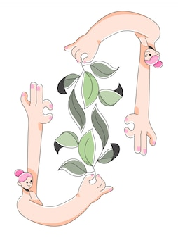 Girl holding leaf plant cute illustration