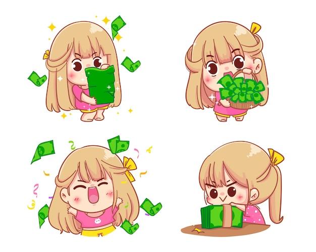 Girl holding money cartoon set illustration