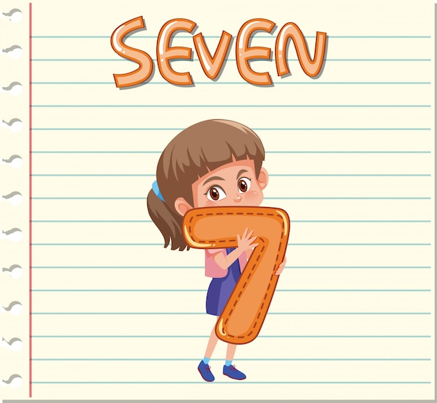 A girl holding number seven template