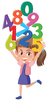 A girl holding number on white background