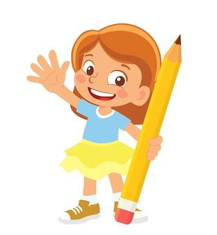 Клипарт девушка держит карандаш