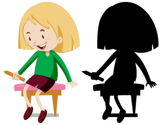 Girl holding pencil sitting on the chair in color and silhouette