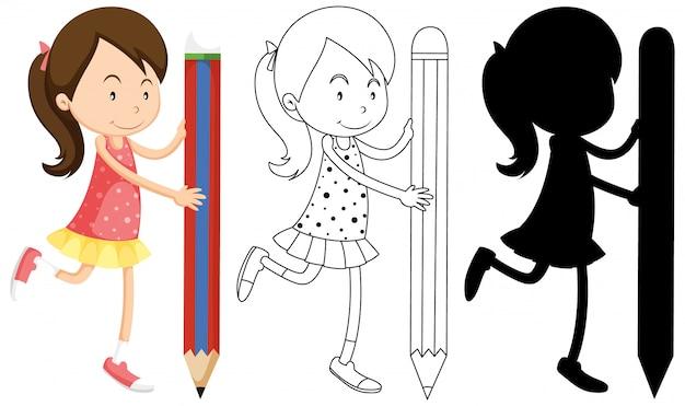 Девушка держит карандаш со своим контуром и силуэтом