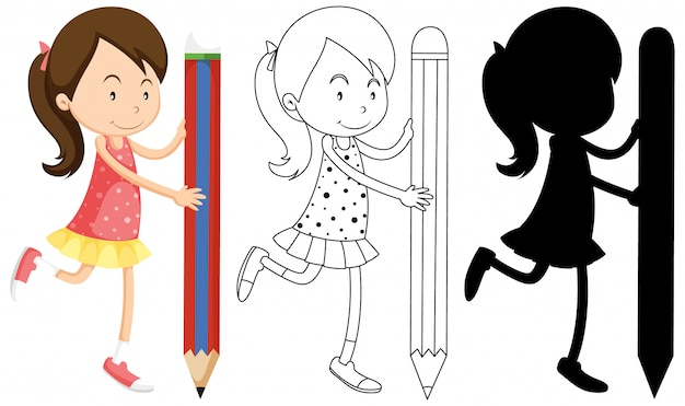 Girl holding pencil with its outline and silhouette