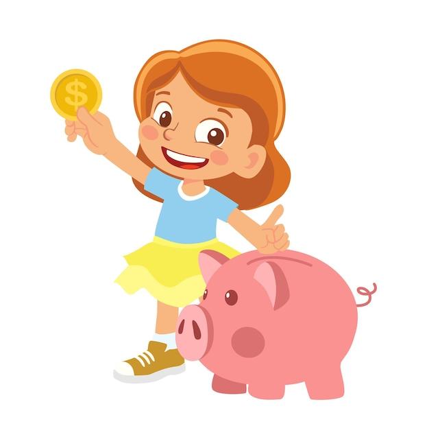 Девушка держит копилку и деньги