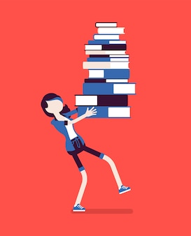 Girl holding pile of books. female student annoyed with much homework to do, heap of textbooks to read for test or exam, load with burden of information.  illustration with faceless characters