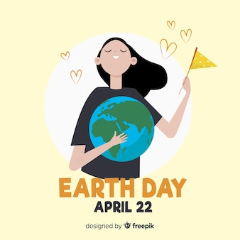 Girl holding planet mother earth day background
