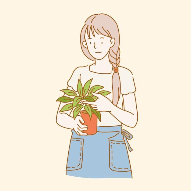 Девушка держит растение в горшке в стиле линии