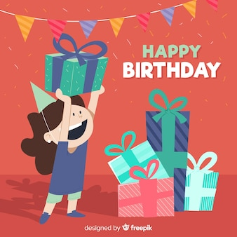 Girl holding present birthday background