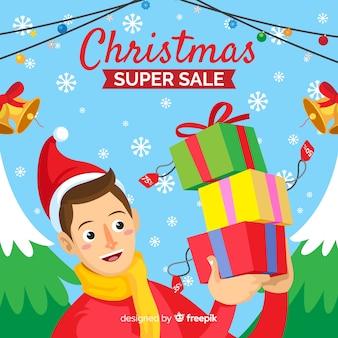 Girl holding presents christmas sale banner