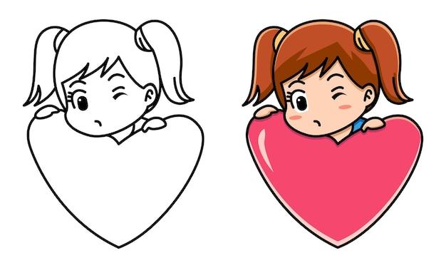 子供のための赤いハートバレンタインコンセプトぬりえページを保持している女の子