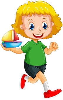 A girl holding a ship toy cartoon character isolated on white background