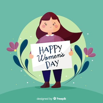 Girl holding a sign women's day background