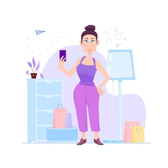 Girl holding a smartphone in her hands, indoors, cartoon character - flat style.