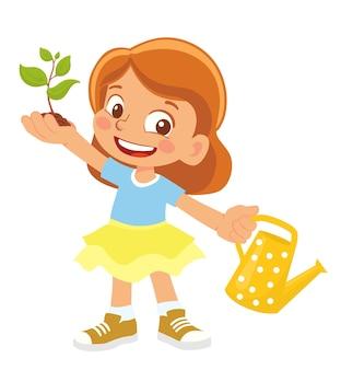 새싹과 물을 수 들고 소녀 클립 아트