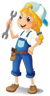 A girl holding a tool
