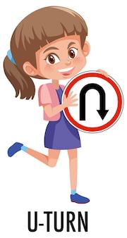 Девушка держит дорожный знак, изолированные на белом фоне