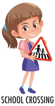 Girl holding traffic sign isolated on white background