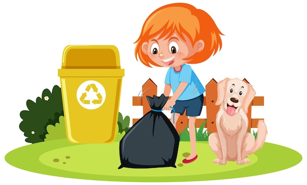 A girl holding trash with a dog on white background