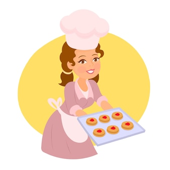 Girl holding tray with cookies