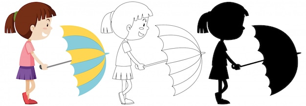 Girl holding umbrella in colour and outline and silhouette