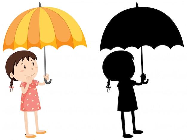 색상과 실루엣에 우산을 들고 소녀