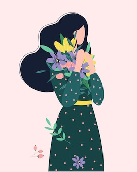 Girl holds a bouquet of flowers. happy woman with a bunch of wildflowers.   flat illustration.