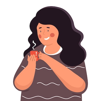 The girl holds a cup with a hot drink in her hands. tea time.  illustration in flat style.